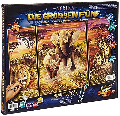 Schipper 609260520 - Malen-nach-Zahlen - Afrika die großen Fünf (Triptychon), 50x80 cm