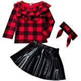 DaMohony, Conjunto de Falda para niñas y bebés recién Nacidos, Camisa a Cuadros + Falda de Cuero + Diadema, 3 Piezas, Conjunt