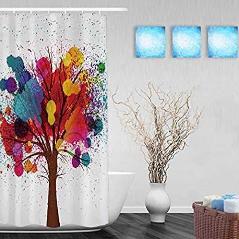 Tree With Branches Made Of Watercolor Drops Bathroom Shower Curtains High Quality Waterproof Mildew Fade Resistant Ployster Fabric 36