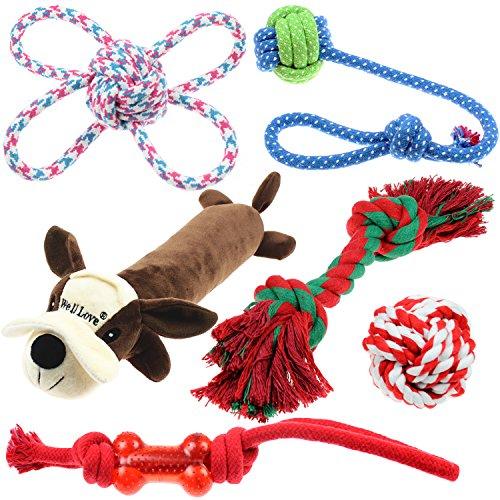Well Love Juguetes para perro,juguetes para masticar,cuerda de algodón100%natural,juguetes para chirridos,bolas de perro,huesos de perro,juguete de peluche,cuerdas para perro,6unidades,juego de regalo