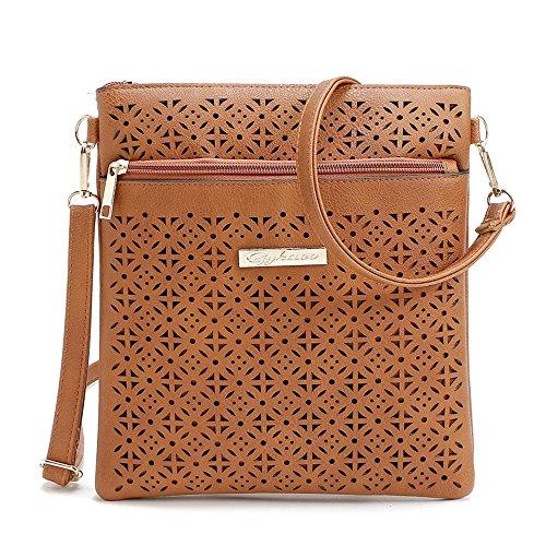 ZOONAI Medium Crossbody Purse for Women, Triple Zipper Crossover Shoulder Bag