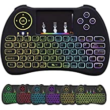 Mini teclado retroiluminado inalámbrico QWERTY de 2,4 GHz con touchpad combinado, control remoto para Smart TV, mini PC, pad, proyector, computadora (negro)