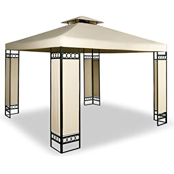 Tonnelle barnum 3x3m Lorca - Tente de reception jardin & ventilation - Crème