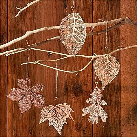 Foliage Set Of 5 Copper Skeleton Leaf Ornamental Hanging
