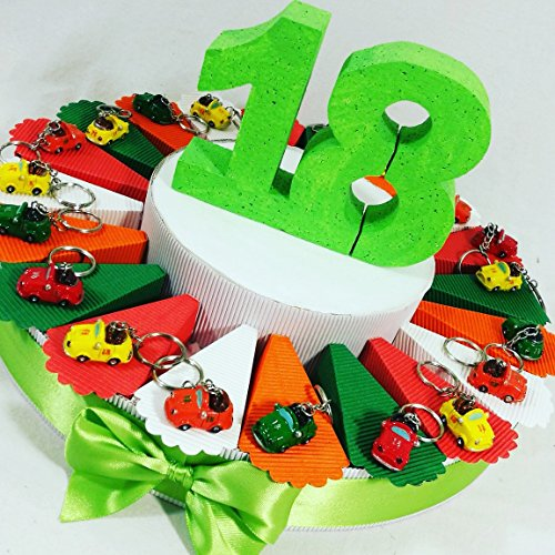 Bomboniere 18 anni diciottesimo compleanno bomboniera con confetti -torta 20 fette + 20 portachiavi + 1 diciottesimo + confetti crispo cioccolato - apr