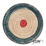 Runde Strohscheibe Deluxe - Ø 80 cm x 8 cm - Zielscheibe - Farbe: blau-rot + Holzständer S140