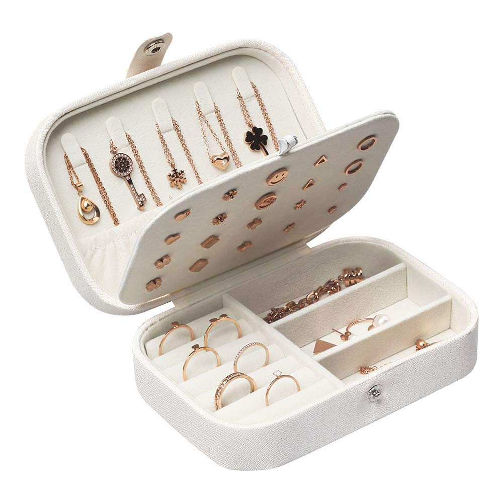 Boîtes à Bijoux Femmes Voyage Organisateur de bijoux Filles Petit Jewelry  Stockage Cas pour bagues Boucles d\u0027oreilles Colliers Bracelets, 16,5 x 11,5