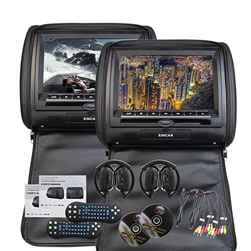 x 2 enthalten EinCar Universal-Paar Auto-Kopfstützen mit 9-Zoll-HD Digital Screen Doppel-Region Free DVD-Player für Auto-Unterstützung USB SD IR FM-Transmitter ()