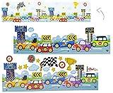 Unbekannt 16 tlg. Set Wandtattoo / Fensterbild Auto selbstklebend - Tattoo als Bordüre Fahrzeug / Rennwagen für Kinderzimmer Jungen