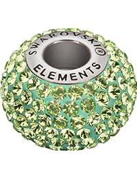 Grand Trou Perles de Verre a enfiler de Swarovski Elements 'BeCharmed Pave' 14.0mm (Peridot, Acier affiné), 1 Pièces