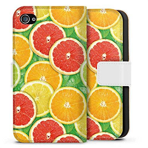 Apple iPhone X Silikon Hülle Case Schutzhülle Zitrone Sommer Trend Orange Sideflip Tasche weiß
