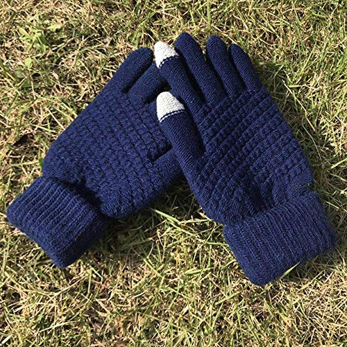 DASGOODSolid Stretch Ladies Knit Gloves Girl Winter Warm All-Fingers Ladies Crochet Hand Jewelry, Thick Navy Blu