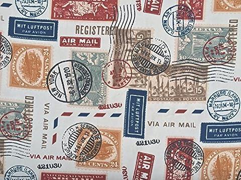 PRESTIGE FABRICS Air Mail Letters Stamps print vintage white cotton