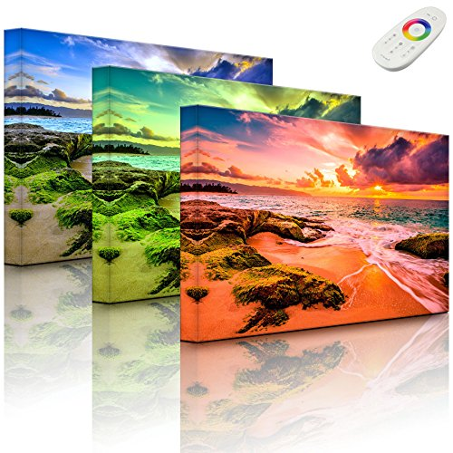 Bild beleuchtet - Sonnuntergang auf Hawaii - 100 x 70 cm - fully lighted - MADE IN GERMANY (Hawaii-foto-rahmen)