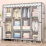 ZC&J Home Wohnzimmer und Schlafzimmer große Kapazität Tuch Kleiderschrank und Schließfächer, Seitentaschen, manuelle Montage und leicht zu bewegen Kleiderschrank,A,67*66*18inch