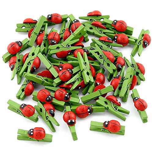 Holzklammern, 3cm rot/grün, Marienkäfer Glücksbringer ! ()
