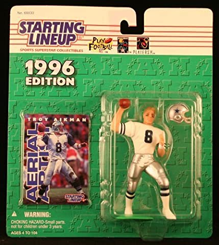 TROY AIKMAN / DALLAS COWBOYS 1996 NFL Starting Lineup Action Figure & Exclusive NFL Collector Trading Card by Starting Line Up