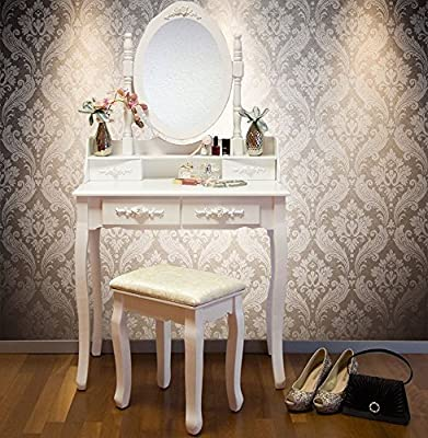 Vienna DR006 White Dressing Table Stool & Mirror Set 5 Drawers Bedroom Dresser - cheap UK dressing table store.