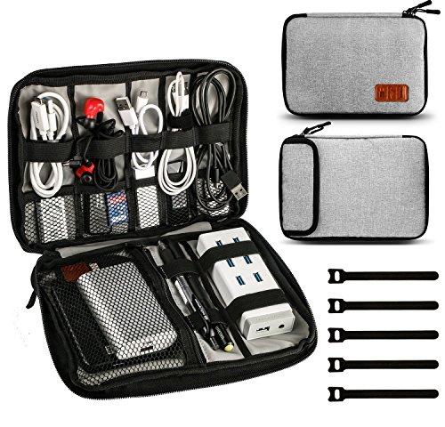 Jamber universal travel kabel Ooganizer tasche elektronische accessoires tragen fall karton mit 5 x kabelbinder, Grau