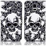 Apple iPhone 5S Handy Tasche mit Motiv Schutz Hülle aus PU Leder mit Kartenfächer und Standfunktion Etui Flip Case Wallet mit Totenkopf Abbildung Motiv: QBY-020
