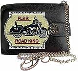 HARLEY DAVIDSON FLHR Image sur portefeuille RFID pour hommes de marque KLASSEK vrai cuir avec chaîne Moto Bike cadeau d'accessoire avec boîte en métal produit HARLEY DAVIDSON Non officiel