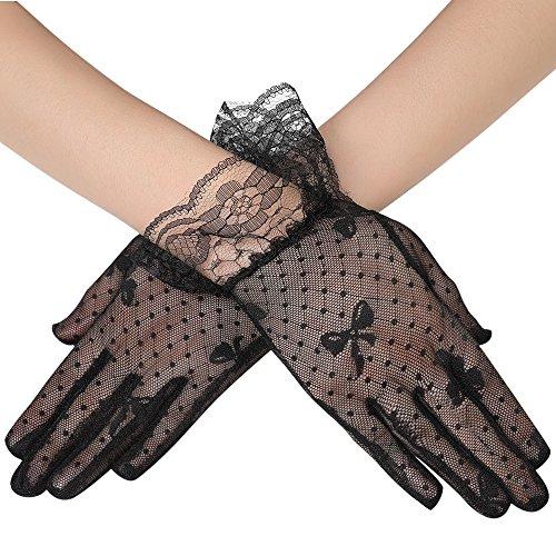 ArtiDeco Damen Lace Handschuhe Satin Braut Hochzeit Spitze Handschuhe Opera Fest Party Handschuhe 1920s Handschuhe Damen Kostüm Accessoires (Kurz Tüpfel - Schwarzes Flapper Kostüm Handschuhe