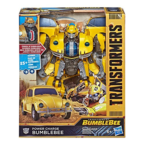 Transformers Bumblebee Movie Toys, Power Charge Bumblebee Action Figure Spinning Core, Lights and Sounds Toys for Kids 6 and Up, 10.5 Inch