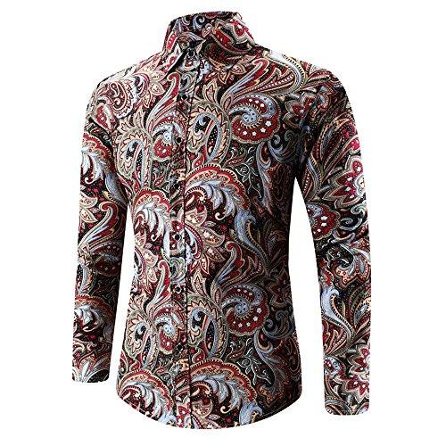 Rosennie Herbst Winter Herren 3D-Druck T-Shirt Herren Hemd Slim Fit Langarm Hemden Freizeit Hochzeit Arbeit Business Muster Ärmel Sport Langarm T-Shirts Top Hawaii-Shirt für Mens(Blau,2XL) -
