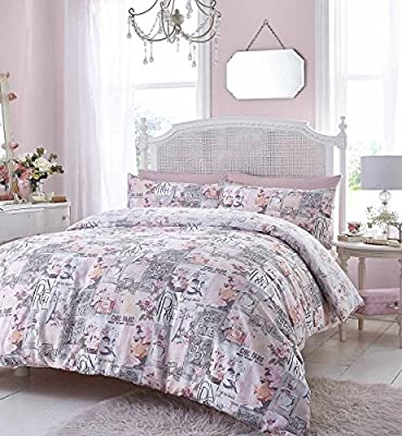 French Cafe De Paris Pink Grey Duvet Quilt Cover Set With Pillow Cases All Size produced by Textile - quick delivery from UK.