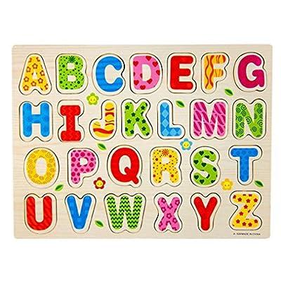 Ularma un ensemble 26pcs Bois Alphabet Anglais Lettres Puzzle Scie Sauteuse Jouet éducatif