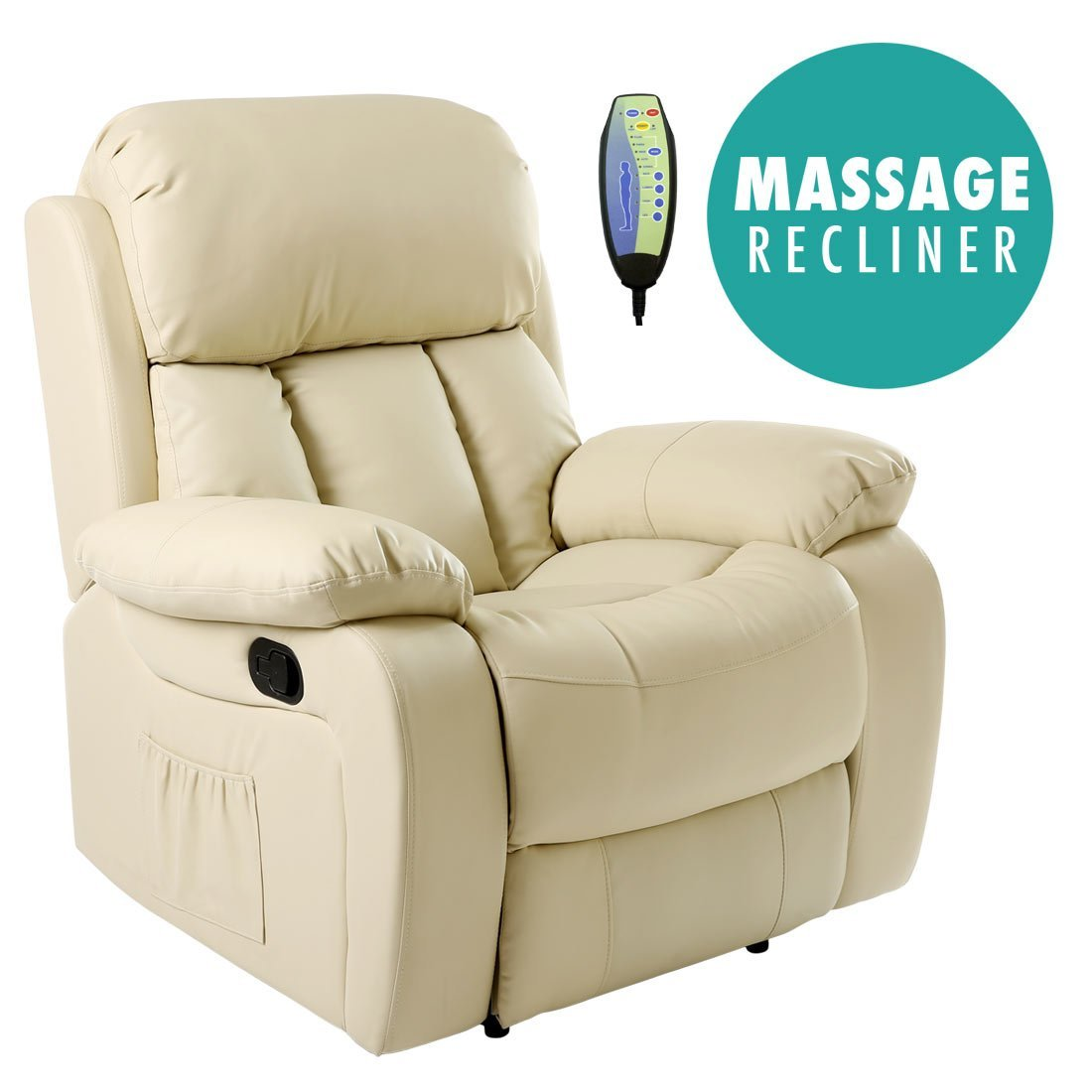 chester heated leather massage recliner chair sofa lounge gaming home armchair brown amazoncouk kitchen u0026 home