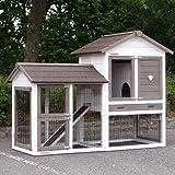 Animalhouseshop.de Winterfester Kaninchenstall Prestige Small White mit auslauf Links Isolierset und Nagerschutz - White 162x72x122cm