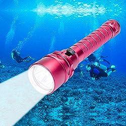 Torcia per l'immersioni Profonde,CrazyFire 3000 lm di Potenza Sotto Ac...