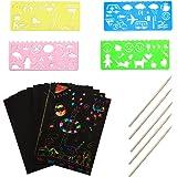 ZoneYan Scratch Art, 50 Piezas de Papel de Rascar para Niños, Papel para Rascar, Hojas de Rascar Color, Laminas para Rascar,