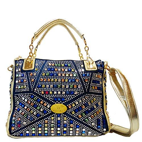 Utrendo Handtasche California. Ausgefallenes Jeans Denim Design mit brillianten bunten Strass Kristallen.