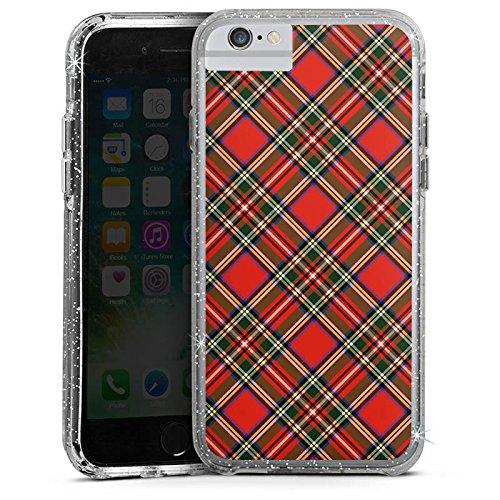 Apple iPhone 8 Bumper Hülle Bumper Case Glitzer Hülle Schotten Scottish Tartan Pattern Bumper Case Glitzer silber