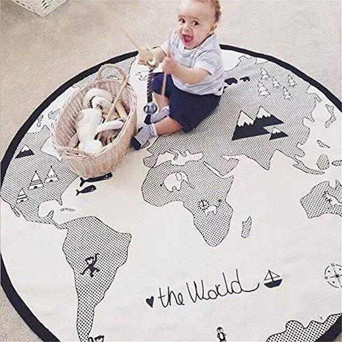 Baby kriechen Mats Adventure Weltkarte Muster Spiel Decke Boden playmats Kinder Kind Aktivität rund Teppich 134,6cm