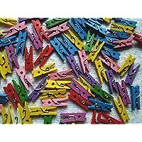Shatchi - Juego de 100 pinzas de madera para ropa, manualidades, manualidades, bodas, fiestas, bautizos, 25 mm, varios colores, multicolor , color/modelo surtido