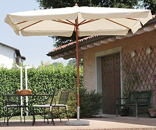 PEGANE Parasol centré rectangulaire 3 x 2 m Coloris Bois Teck Polyester 180 GR