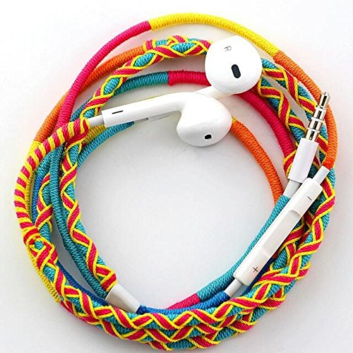URIZONS Auriculares con Cable y Micrófono In ear Estéreo, Control Remoto para Móvil, Reproductor MP3 Smartphones Huawei XiaoMi iPhone 6 6s---Tela hecha a mano Trenzado Estilo Tribe