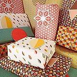 Bright Stem, fogli di carta regalo assortiti con decorazione geometrica (piegati) ed etichette