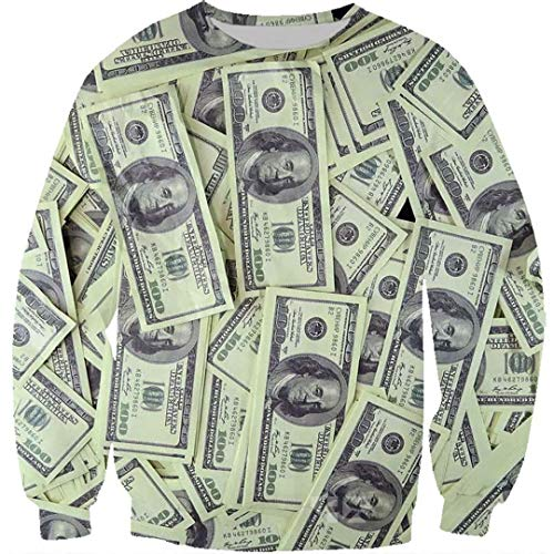 Dollar T-Shirt Männer Geld T-Shirts Gothic 3D T-Shirt/Hoodie/Sweatshirt Unisex Harajuku Stil Lustige Hip Hop Tops Black Asian Size M (Cherokee Herren T-shirt Schwarz)