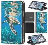 CoverFix Premium Hülle für Samsung Galaxy S5 Mini G800 Flip Cover Schutzhülle Kunstleder Flip Case Motiv (564 Schildkröte im Wasser Blau)