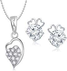 Meenaz Pendant Jewellery Set Combo Silver Plated for Women and Girls Com197