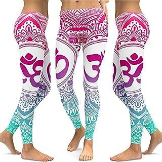 JYJM Damen OM Gedruckt Yogahosen Damen Digitaldruck Sweatpants Damen Farbe Yogahosen Damen Druck Leggings Mädchen Im Freien Yogahosen Damen Sexy Mode Stretch Hosen
