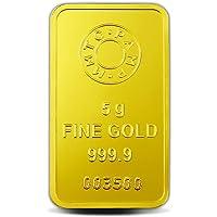 MMTC-PAMP 24k (999.9) Lotus 5 gm Yellow Gold Bar
