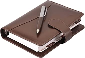 COI Brown Leather Personal Organiser / Planner With Pen