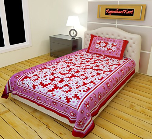 RajasthaniKart 100% Cotton Single bedsheet and 1 Pillow Cover  available at amazon for Rs.179