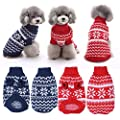 Awhao Cold Day Pets Doggie Clothes White Snowflake Pattern Dog Knit Sweater Puppy Jamper Coat