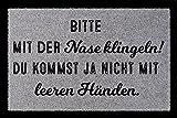 Interluxe TÜRMATTE Fußmatte Bitte mit der Nase KLINGELN Eingang Flur Haustür Geschenk Hellgrau